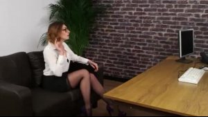 Busty, blonde secretary seduced her boss and asked him to fuck her dirty brains out