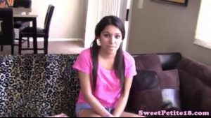 Pigtailed Asian teen got banged on the couch, by a horny guy who is not her boyfriend