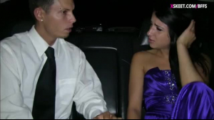 Petite teen was being a very naughty girl, so her prom date decided to punish her