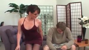 Horny cock sucking brunette pooch gets peed
