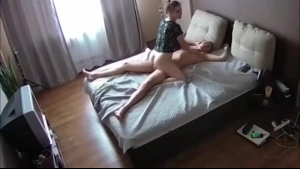 Horny bald guy is about to fuck his ex girlfriend, in front of his girlfriend