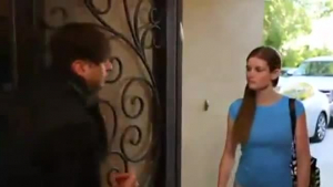 Graceful babysitter Brianna Kay giving order to her boss