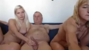 Mature blonde and young brunette who just moved into her ex's house are having a threesome